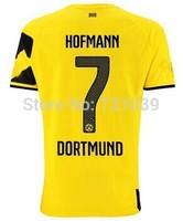 New Top Quality 2014 2015 Borussia Dortmund Home Yellow Away Black Soccer Jersey Thailand Quality BVB Home Jersey Custom NO.7