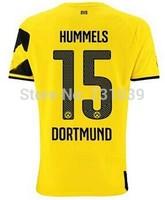 New Top Quality 2014 2015 Borussia Dortmund Home Yellow Away Black Soccer Jersey Thailand Quality BVB Home Jersey Custom NO.15
