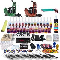 Complete Tattoo Kit 2 Pro Machine Guns 28 Inks Power Supply Needle Grips TK248