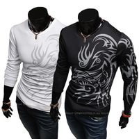 Spring And Autumn New Fashion European Style Casual Fashion Men's Round Neck Long-sleeved T-shirt Tattoo TX206