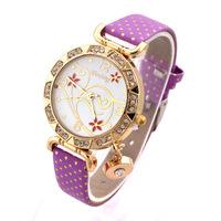 2014 Hot Flower Pattern Women Rhinestone Watches Fashion Wristwatches Women Rhinestone Watches Quartz  Analog PU Band Promotion
