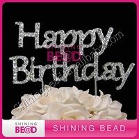 happy birthday rhinestone cake topper for birthday party, free shipping, new style rhinestone cake topper for birthday cake