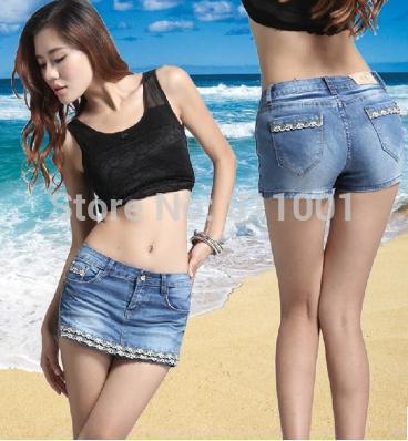 Newest Korean Women Skirt Pants Sexy Short Skirts Elastic Slim Lace Short Skirts Ladies Denim Pantskirt(China (Mainland))