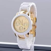 Free Shipping Shark Watche Japan MCE brand Watches White Fake Ceramic strap Wristwatches For Women Men