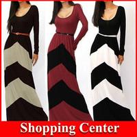 2014 New Fashion Girls Printing Striped Women Casual Dress Long Sleeve Winter dress Floor-Length Long Maxi Dresses dropshipping