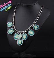 2014 Newest Design Alloy Jewelry Wholesale Fashion Statement Za Luxury Necklaces four-leaf flower Collar Necklace 2771