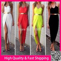 2014 Summer Dress Sexy Long Dress High Split Maxi Dress Plus Size XXXL Casual Dress 4 Colors Bodycon Party Dresses