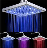 "HOT SALE#8"" Square Temperature Sensor 3 Colors Bathroom LED Light Rain Shower Head Faucet"