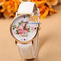 top brand 2014 WholeSale New Arrival Fashion Leather Strap GENEVA Women Dress Quartz wrist Watch Free shipping G-8018#