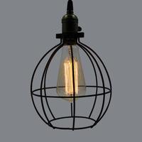 Industrial Edison Vintage Hanging Black Wire Cage 1-light Living Room Opening Pendant Light D-9570D