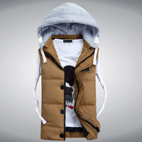 VT-106 High Quality Men's Korean  Warm Cotton Padded Waistcoat Fashion Detachable Hood Winter Vest For Men M-3XL 4 Colors