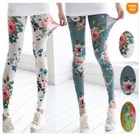 HOT SALE#New Thin Retro Flower Rose Print Leggings Pants Trendy Women Sexy