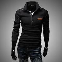 2014 Spring New Retro Decorative Buttons Chest Veneer Men Cultivating Long-sleeved T -shirt , Men's Sports T -shirt TX211