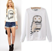 Casual fall clothes white OWL animal print beaded ladies pullover sweatshirts women fashion coat long-sleeved hoodie sweater