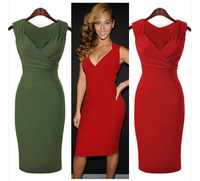 Women Modern 2 Colors Knee-Length Tank Dress Deep V Neck Summer Sheath Basic Dress Ladies Sexy Dresses Good Elasticity  S-XXL