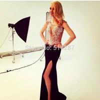 Vestido De Festa Longo Sparkle Crystal Mermaid Evening Dresses Long Black Satin Prom Party Dress With High Slit 2015 New Fashion