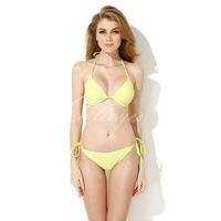 Free Shipping Sexy Bikini Swimwear Hot-selling Shoulder Strap Bikini Sexy Greenish Yellow Triangle Top with Classic Cut Bottom