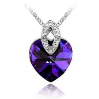 Free Shipping hot fashion jewelry White Gold Plated Crystal heart Necklace NJY305