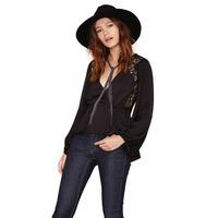 Free shippingDovetail hem waist V-neck Puff cross shoulder side seam stitching lace chiffon shirt women clothesdress