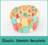 Europe and United States Fashion Wide Pattern Stretch Bracelet Charming Bangles imitation gemstone Woman Jewelry