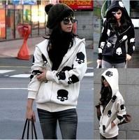 Autumn winter skulls hooded zipper fleece cardigan coat Free Shipping Fat MM