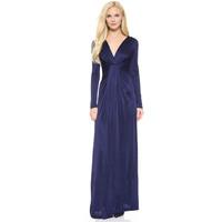 Free shippingElegant dark blue tight knit fold long -sleeved winter dress elegant exquisite gown skirt women clothesdress