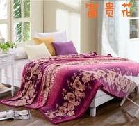 High grade ultra soft golden mink cashmere blankets / coral velvet / flannel sheets / Black blanket 200*230 flower of wealth
