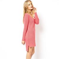 Free shippingShort in front long slit low collar design hem micro hedging sweater knit dress women clothesdress