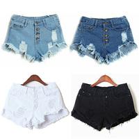 2014 New women Denim Short Pants Woman High Waist Jeans Ripped Hole Wash Shorts White Sexy  Casual Fashion Short Summer Trouser