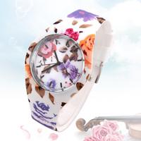 2014 Fashion Ladies Quartz Wristwatches V6 Colorful Flower Silicone Strap Dress Watches Rubber Case Analog Women Watch Hot Sale