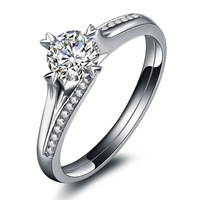 Forever Love Genuine Solid 18K  White Gold Moissanite Woman Engagement Rings Certified 0.50CT VVS / H Party Gift  Free Shipping