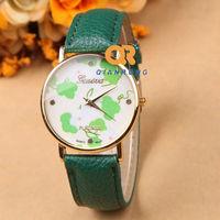 New 2014 Fashion GENEVA Vintage Rose Flower Watch Women Leather Quartz Dress Watches Casual Ladies Wristwatches G-8018#