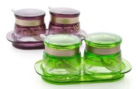 Fashion Transparent Salt  Prepper Shaker Creative Condiment Containers Kitchen Necessaries Glass Spice Jar With Spoon+Cover+Tray