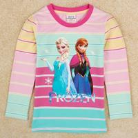 NOVA Kids Frozen girls shirt fashion stripe long sleeve T-shirt F5319#