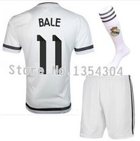 Top quality 14-15 Real madrid Home white RONALDO JAMES KROOS sportwear jersey Kits, 2015 Real madrid soccer shirt &short&sock