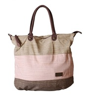 high quality women's large handbag with long shoulder strap in canvas fabric patchwork design B164