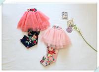 2014 baby girl Pantskirts flowers printed gauze Devided Tutu Skirts cotton lycra Leggings children clothes kid clothing wear