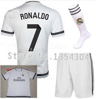 Top quality 14-15 Real madrid Home white #7 RONALDO sportwear jersey Kits with socks, 2015 Real madrid soccer shirt &short&sock