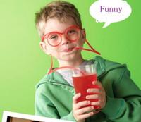 2PCS/Lot Korea Fashion DIY Straw Creative Interesting Funny Glasses Cartoon Glasses Plastic Drinking Straw Free Shipping
