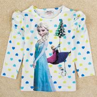 Kids Frozen girl t shirt Elsa Anna T-shirt Girl's fashion ice and snow of the girls hubble-bubble long sleeve T-shirt F5162#