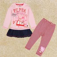 NOVA kids brand peppa pig long suit of the girls baby girl t shirt set FG5120#