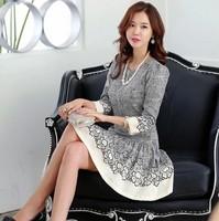 2014 autumn lady hemp print slim one-piece dress women o-neck mid waist three quarter sleeve pleated OL dress