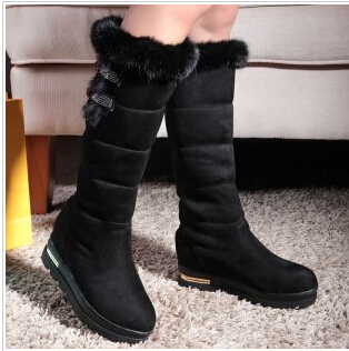 2014 New Women warm Snow Boots hot selling flock velutinous knee high boots nubuck leather cut-outs winter woman long boots(China (Mainland))