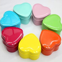 Free shipping candy color heart shaped metal tin candy box/ Wedding DIY Favor Packaging  Box/ jewelry box