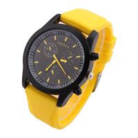 2014 New GENEVA Fashion Quartz Wristwatches Analog Glass Rubber Case Casual Watches Silicone Strap Movement Discount
