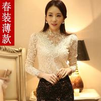 blusas femininas 2014 New Fashion Women Blouse Ladies Casual Slim Long Sleeve Work Wear Blouses Plus Size XXXL Lace Tops Shirt