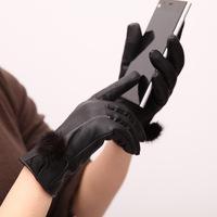 Women 's leather gloves touch the ball lovely warm mink women plus thick velvet women's   glove  mittens