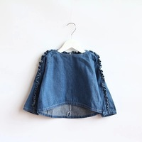 New 2014 Autumn Clothing girls Boutique brand sweet lace sleeves denim fashion coat Children Kids high quality denim jacket