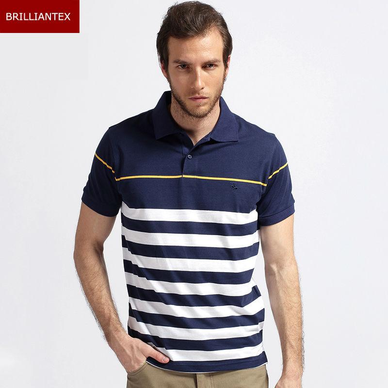 custom made stripe polo shirt embroidered logo high quality polo shirt(China (Mainland))