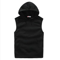 Free shipping 2014 hedging hooded velvet plus sports and leisure simple fashion tide male lovers vest  five color size S-XXL